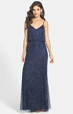2b43f50e44e NWOT navy Adrianna Papell silver Beaded Chiffon Blouson Dress size 16W