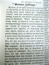 <1876 newspaper w displayable pro WOMENS SUFFRAGE EDITORIAL Equally Intelligent