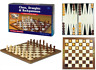 3 IN 1 Pliable Bois Échecs Set Board Jeu Echiquier Backgammon Jeu de Dames Grand
