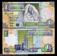 LIBYA AFRICA 1 DINAR P64 2004 GADAFFI UNC GADAFFY CURRENCY MONEY BILL BANK NOTE