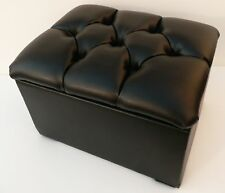STORAGE BOX / FOOTSTOOL CHESTERFIELD BLACK FAUX LEATHER