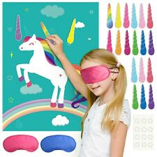 FEPITO Pin the Horn on the Unicorn Birthday Party Game with 24 Horns for Unic...