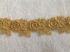 NEW METALLIC. GOLD  GALLON ROSE AND PEDAL 1 INCH  DESIGH VENISE LACE