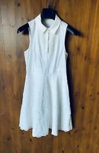KAREN MILLEN SUMMER SHIFT DRESS White Shirt Pintuck Crochet UK 10 / 38 - VGC