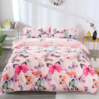 Butterfly Duvet Quilt Cover Colorful Bedding Set Pink Pillowcase Twin Queen Size