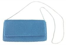 Nina Ricci Blue Metal Beaded Mesh Clutch Shoulder Bag w/ Chain Evening Bag