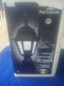 "NIB Hampton Bay Outdoor Post Light Black with Beveled Glass & 3"" Pier Base"