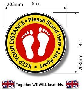 """shop floor stickers Social Distancing Laminated Floor Decals Stickers - 8"""" 200mm"""