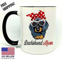 Dachshund Mom, Birthday, Christmas Gift, Black  Mug 11 oz, Coffee/Tea