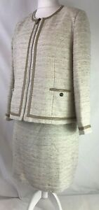 Nightingales Womens Two Piece Skirt Jacket Suit Cream Boucle Fabric Size 18 K924