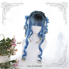 Japanese Harajuku Lolita Wig Cosplay Costume Long Blue gradient Roman Curly Hair