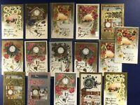 16 New Years Antique Postcards. Embossed, Gold Trim. Collector Items w Value
