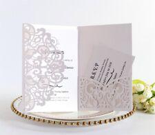 50pcs Tri fold Hollow Laser Cut Pocket Wedding Invitation Inner Card Envelopes