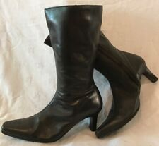 Atmosphere Black Mid Calf Leather Lovely Boots Size 6 (461v)