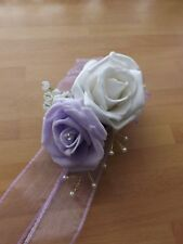 Wedding flowers wrist corsage white/lilac & button hole white rose
