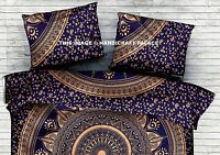 """Indian Blue Gold Cushion Cover Ombre Mandala Sham Case Cotton Pillow Cover 28"""""""