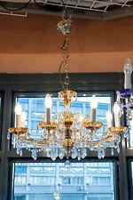 Kristall Luster Lüster KRONLEUCHTER DM 68cm H 34cm 8 Brennstellen MESSING GOLD