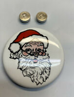"""Vintage 1.5"""" Santa Claus Pinback With Red Blinking Nose Tested Includes Battery"""