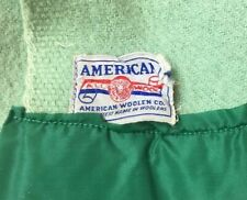 "Vintage  American Woolen Company Wool Blanket  64""x88"" light Green USA Fabric"