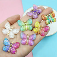 10 pcs Resin Beautiful Butterflies Insects Flat Back Craft Making Decors 33x25mm