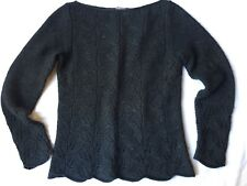 Ann Taylor Scalloped Bottom Sweater Angora Rabbit Hair Blend sz S Boatneck Leaf