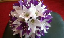 BRIDAL BOUQUET CADBURY'S PURPLE & WHITE LILY'S  PLUS CRYSTAL STRANDS THROUGHOUT