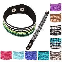 Fashion Leather Wrap Wristband Cuff Punk Crystal Rhinestone Bracelet Bangle