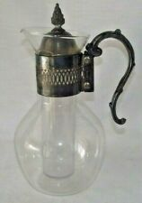 Glass Carafe Ice Tube Vintage Ornate Handle Band Lid Decanter Metal Wine Pitcher