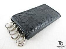PELGIO Genuine Crocodile Alligator Skin Leather Key Holders Trifold Wallet Black