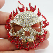 Vintage Unique Red Rhinestone Crystal Halloween Redhead Skull Small Brooch Pin