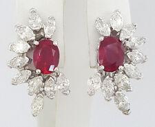 7.96 ct Vintage Platinum Burma Ruby & Marquise Diamond Flower Style Earrings AGL