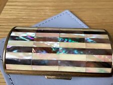 Vintage Ronson Mother of Pearl Inlaid Bolster Shaped Cigarette Case...c1950s