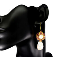 Round Only Heated Red Ruby 2mm Pearl 14k Gold Plate 925 Sterling Silver Earrings