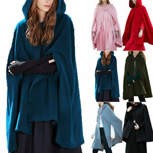 New Womens Hooded Cloak Cape Poncho Jacket Trench Coat Baggy Casual Outwear Tops