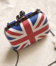 UK England British Flag Womens Clutch Evening Bag Chain Mini Box Crossbody Bag