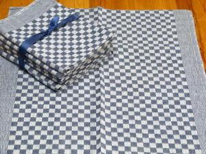 Antikes Grubentuch dunkelblau weiß kariert ungebraucht 52x76 cm