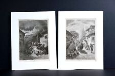 Gustave Dore Pair of Prints 1870 WAR and PEACE Matted Antique Engravings Prints
