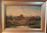 Antique 19th c oil painting on canvas by J Hall signed