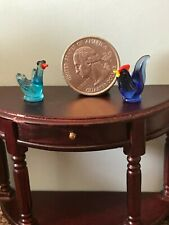 Dollhouse Hand Blown glass Miniature Birds Rooster Swan