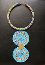 AFRICAN BEADED COLLAR NECKLACE HANDMADE MULTI STRAND ETHNIC TRIBAL BLUE MIXCOLOR