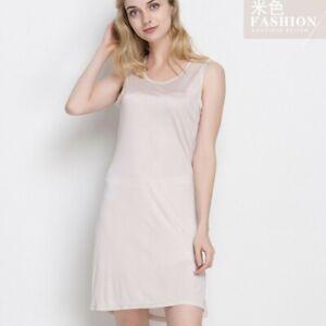 50% Silk Women's Stretch Full Slip Sleepwear Nightdress Chemise Nightgown HY105