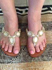 MYSTIQUE Rhinestone Crystal Leather Thong Sandals Flip Flops Sz 10 BEACH WEDDING
