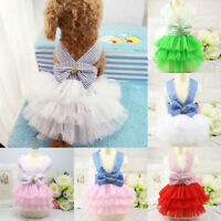 CO_ Pet Tutu Dog Striped Bowknot Straps Tulle Dress Summer Puppy Clothes Seraphi