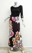 fa30091c0c1 ROBERTO CAVALLI Womens Black+Multicolor Floral Knit Long-Sleeve Maxi Dress L
