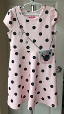 Evy of California DISNEY Girl Dress MINNIE Purse Size 6 Polka Dots Rouge Pink