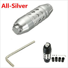 18mm Silver Alloy Aluminum Autos Gear Stick Shift Shifter Lever Knob With Button