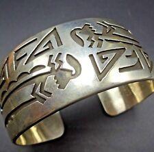 Vintage NAVAJO Heavy Sterling Silver Overlay KOKOPELLI Cuff BRACELET 57.6g