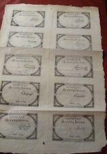 FRANCE 1 livres Uncut Sheet 10 Rare Assignat 10 brumaire year 2 année 2