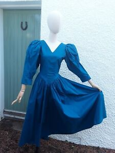 Vintage Droopy & Brown Angela Holmes Blue Dress Puff Sleeve Size 16/14