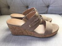 Tommy Hilfiger Womens Tan Wedge Sandals Sz 7 Tan